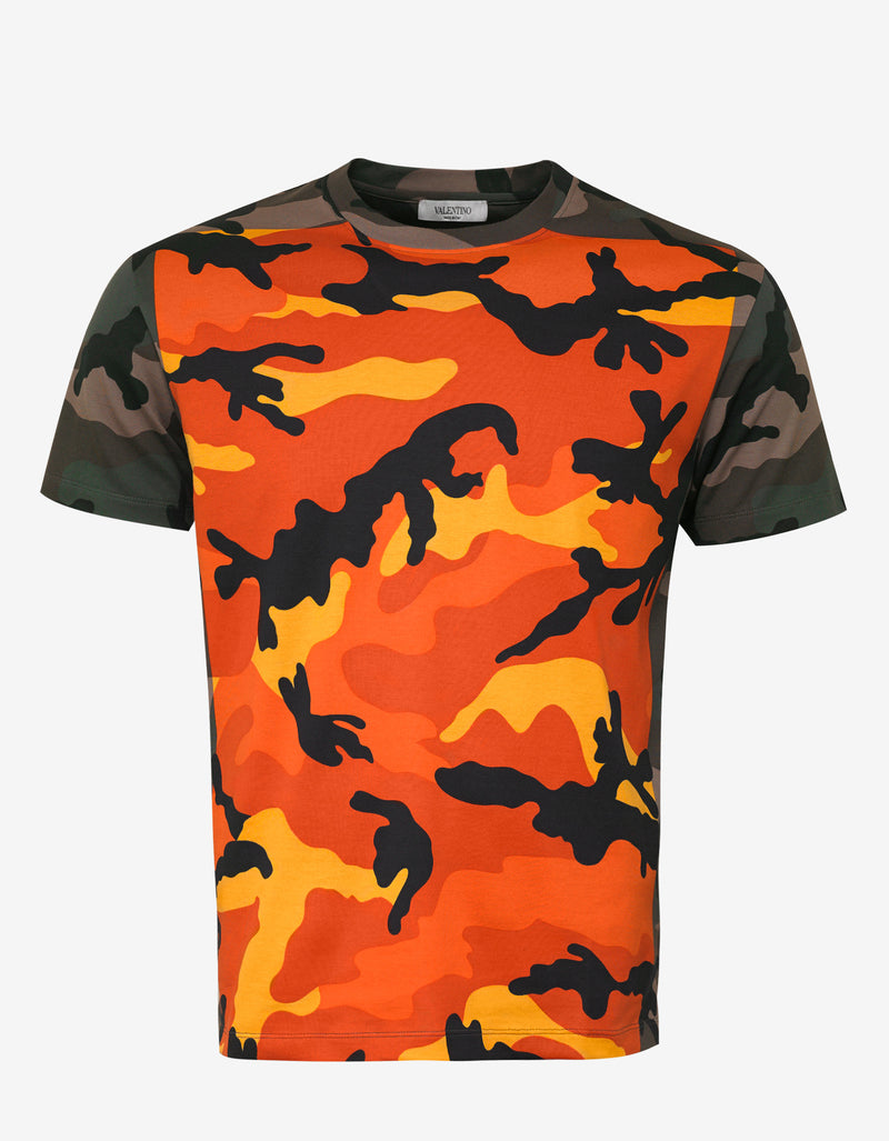 Orange & Green Camouflage Print T-Shirt
