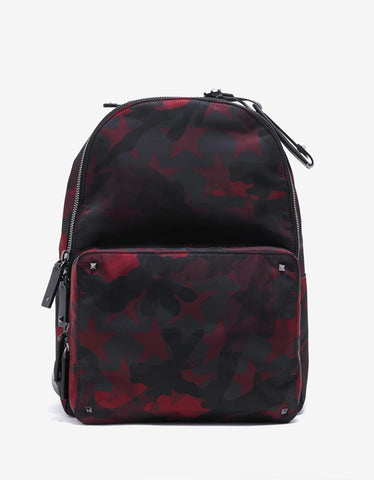 Valentino Garavani Red & Black Camustars Canvas Backpack