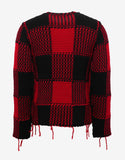 Red & Black Wool Check Sweater