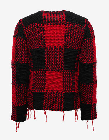 Valentino Red & Black Wool Check Sweater