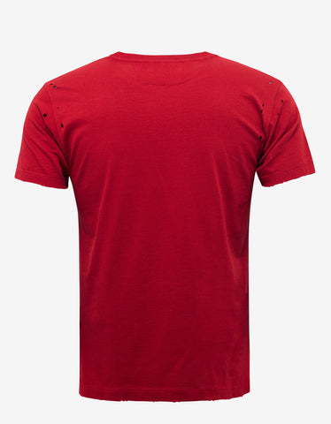 Valentino Red Jamie Reid Print Distressed T-Shirt