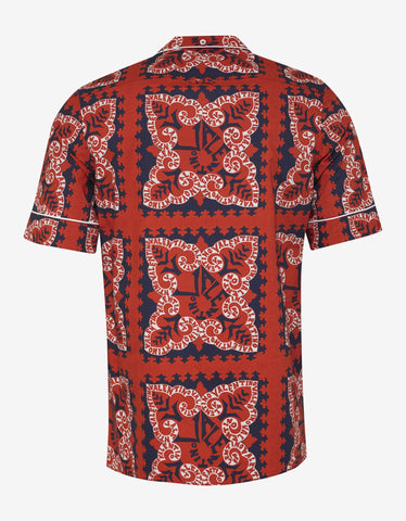Valentino Red Mini Bandana Print Bowling Shirt