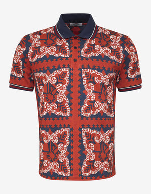 Red Mini Bandana Print Polo T-Shirt