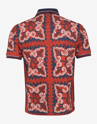 Valentino Red Mini Bandana Print Polo T-Shirt
