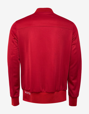 Red Track Jacket with White Stripes
