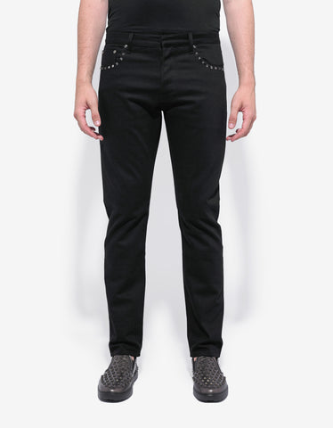 Valentino Rockstud Untitled Black Denim Jeans
