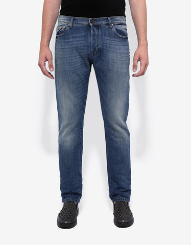 Valentino Rockstud Untitled Blue Denim Jeans
