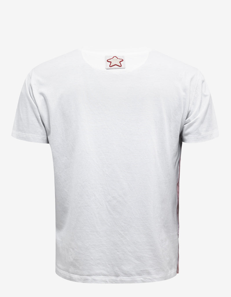 White Selvage T-Shirt with Badges