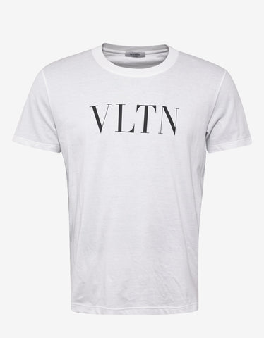 Valentino White T-Shirt with Black VLTN Print