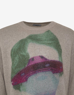 Undercover Beige V Face UFO Oversized Sweater