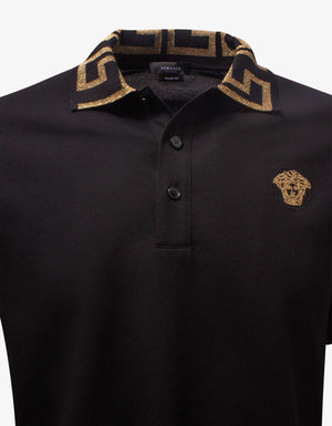 Black Greca Collar Polo T-Shirt