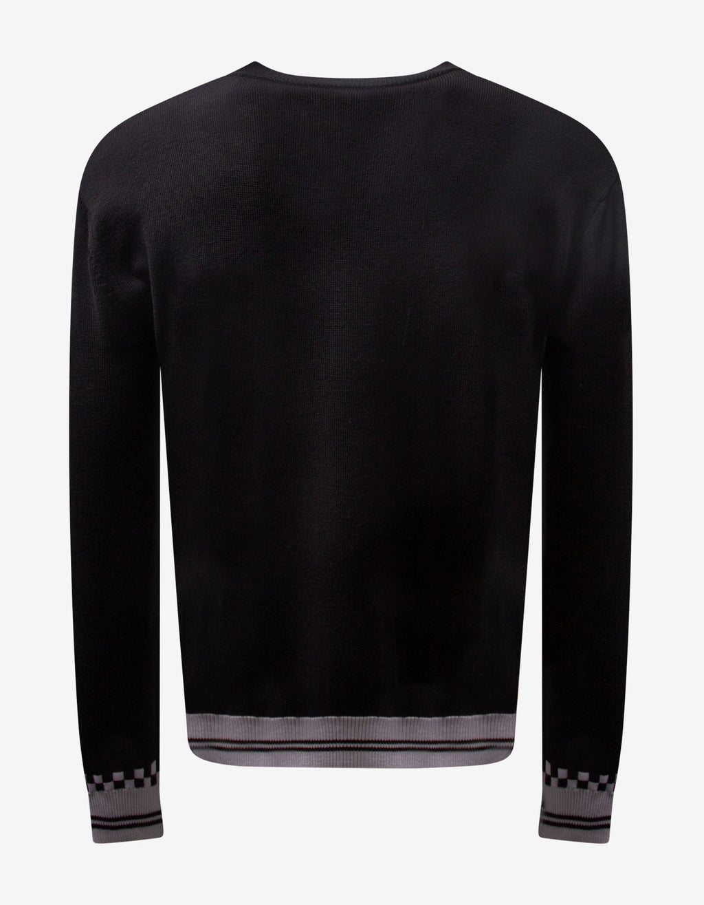 Black Intarsia Logo Wool Sweater