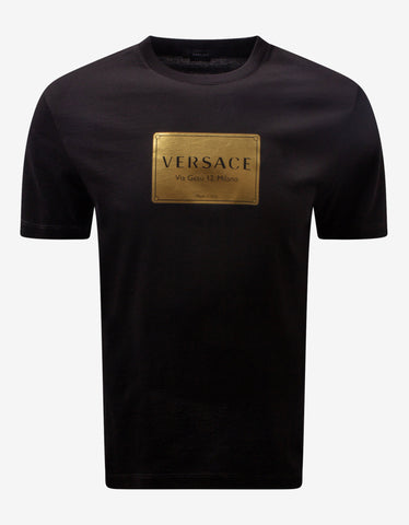 Black Greca Trim Stretch Cotton T-Shirt