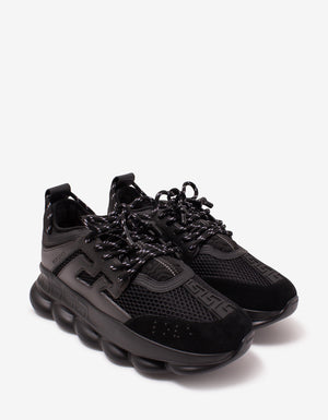 Chain Reaction Black Mesh Panelled Trainers