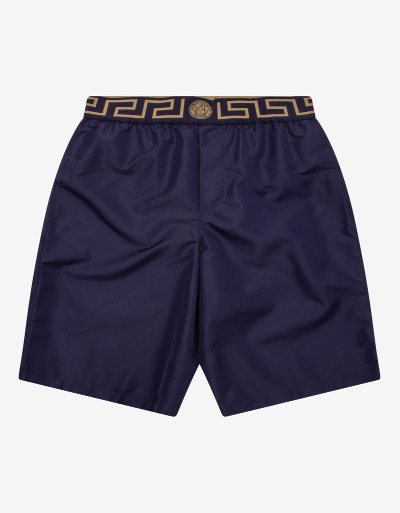 Navy Blue Greca Trim Long Swim Shorts