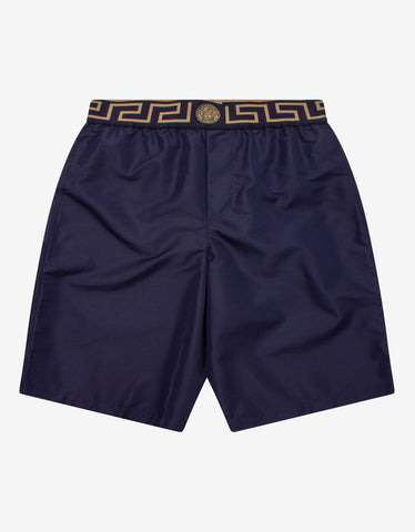 Black Greek Key Short Swim Shorts