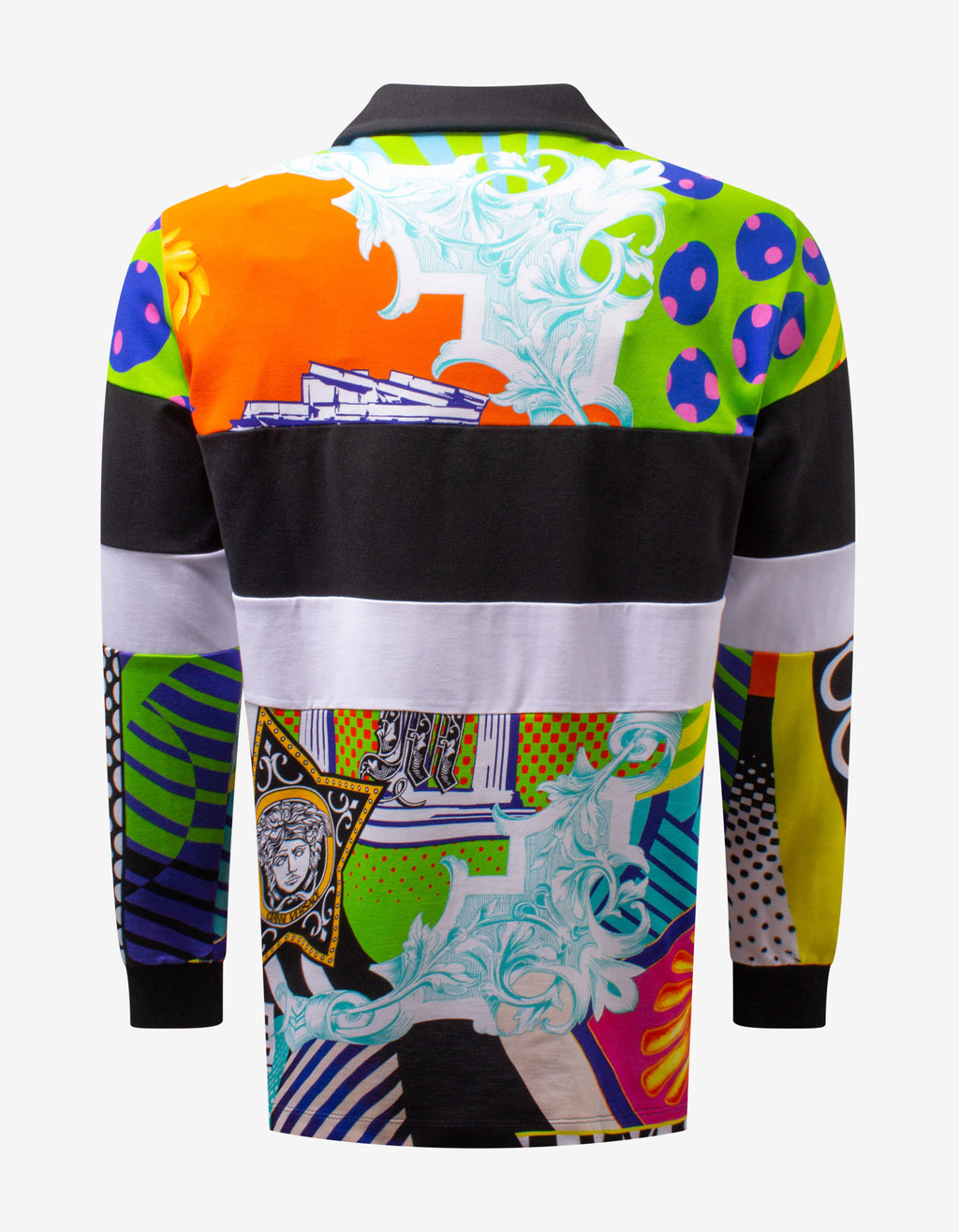 Pop Temple Print Long Sleeve Polo T-Shirt
