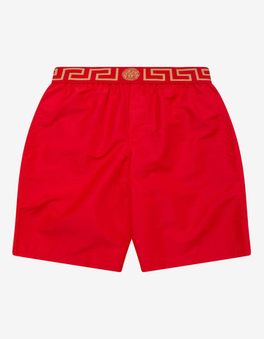 Black Greek Key Long Swim Shorts