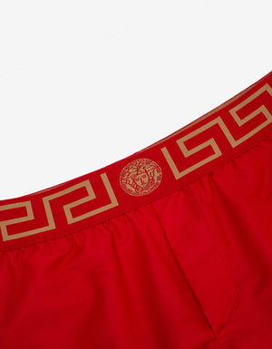 Red Greca Trim Long Swim Shorts