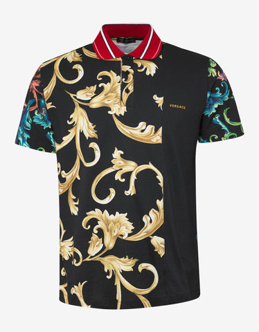 Versace Acid Baroque Print Polo T-Shirt