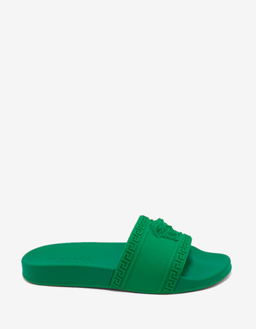 Versace Amazon Green Medusa Embossed Slide Sandals