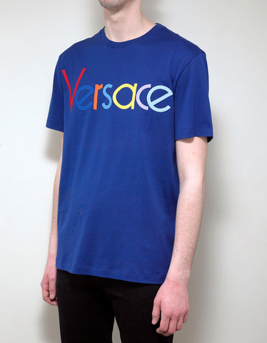 Versace Blue T-Shirt with Multicolour Vintage Logo