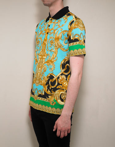 Versace Barocco Homme Print Polo T-Shirt