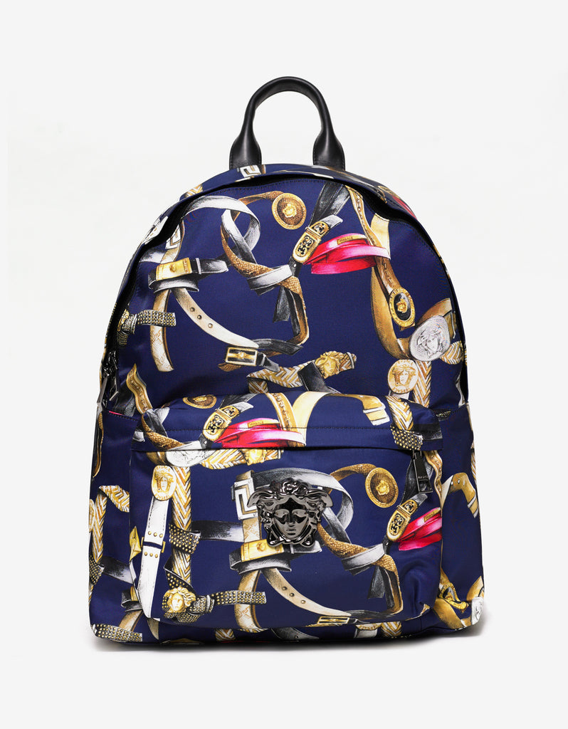 Blue Belt Print Nylon Backpack