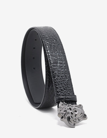 Versace Black Alligator Embossed Medusa Buckle Belt