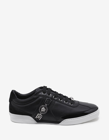 Versace Black Medusa Crest Leather Trainers