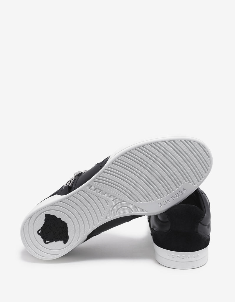 Black Medusa Crest Leather Trainers