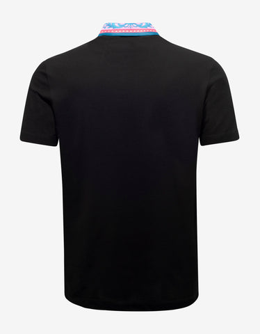 Versace Black Barocco Collar Polo T-Shirt
