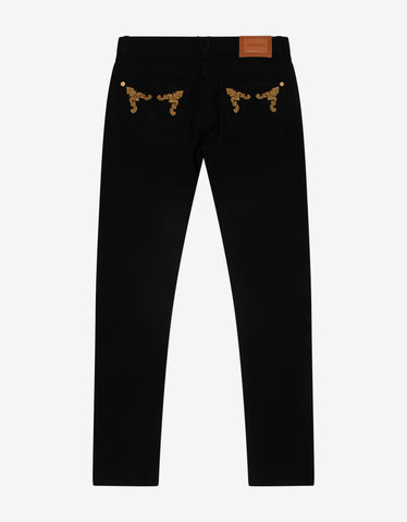 Versace Black Barocco Embroidery Slim Jeans