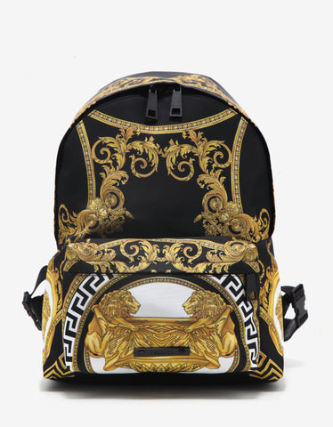 Versace Black Baroque Print Backpack