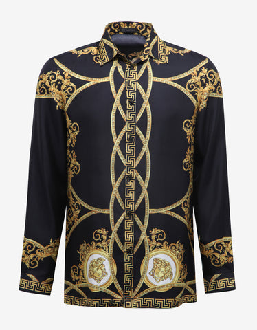 Versace Black Baroque Print Silk Shirt