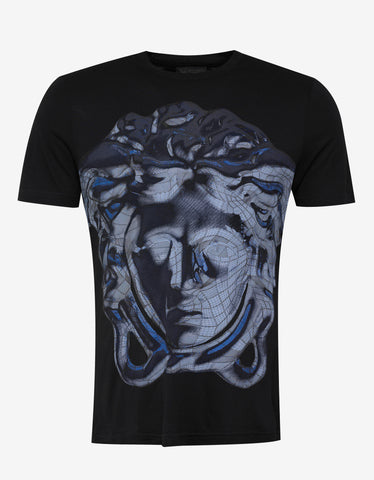 Versace Gym Black Wireframe Medusa Print T-Shirt