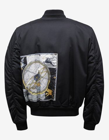 Black Bomber Jacket with Horoscope Patch