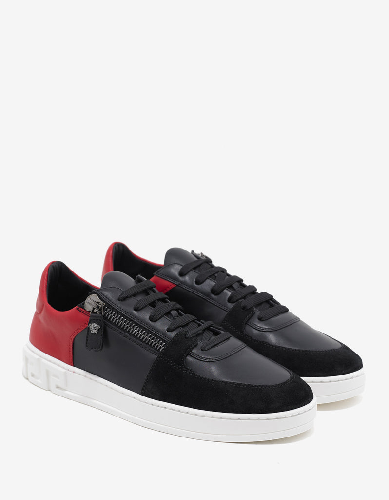 Black Contrast Panel Trainers with Zip