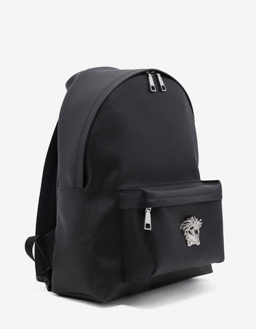 Versace Black Cross-Hatch Grain Leather Backpack