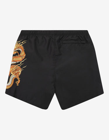 Versace Black Dragon Print Swim Shorts