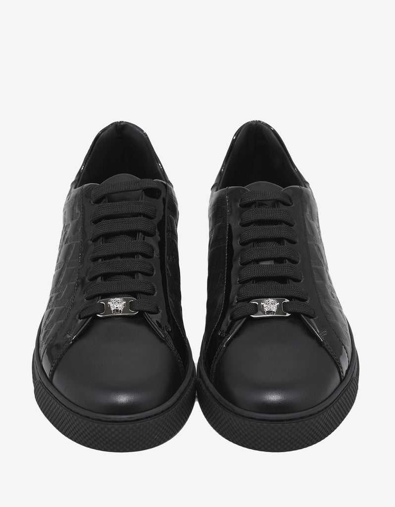 Black Embossed Tennis Low Trainers