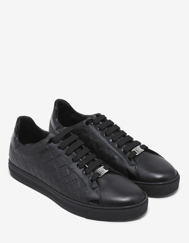 Versace Black Embossed Tennis Low Trainers