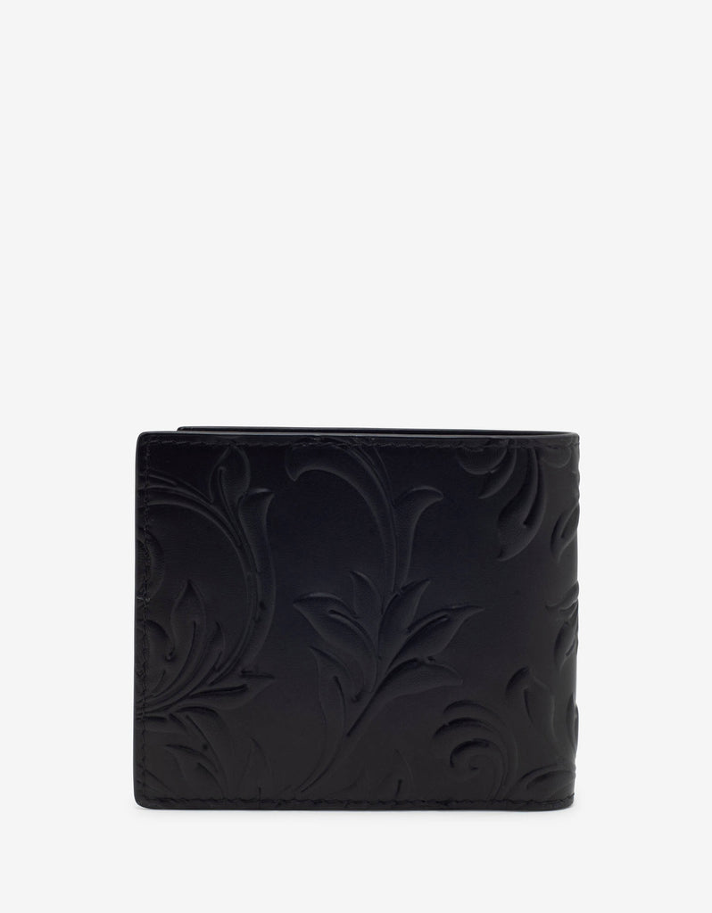 Black Embossed Barocco Leather Billfold Wallet