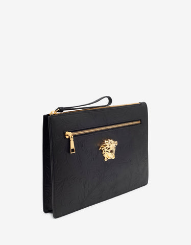 Versace Black Embossed Barocco Leather Clutch
