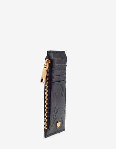 Versace Black Embossed Barocco Leather Long Card Holder