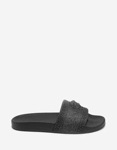 Versace Black Glitter Medusa Slide Sandals