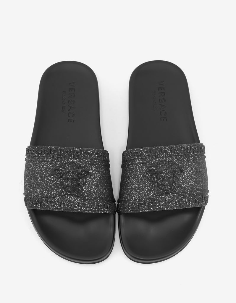 Black Glitter Medusa Slide Sandals