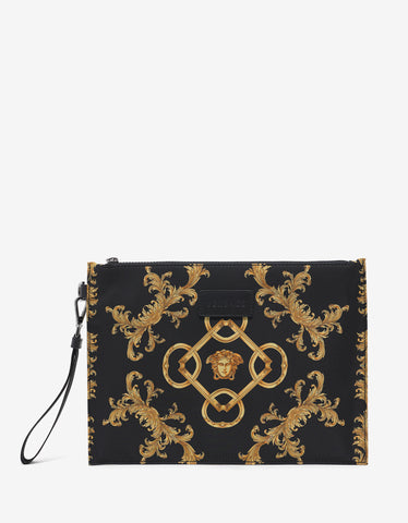 Versace Black & Gold Baroque Print Pouch