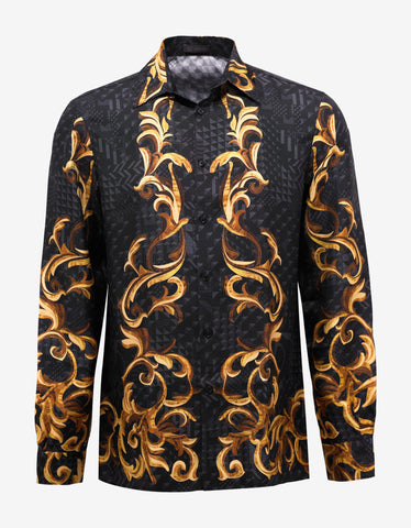 Versace Black & Gold Baroque Silk Shirt