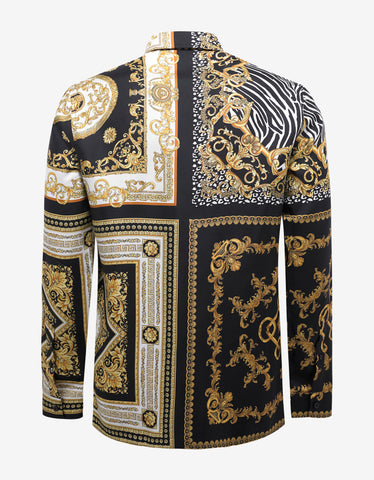 Versace Black & Gold Baroque Print Silk Shirt